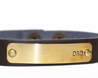 Men's Leather Personalized Dark Brown Custom Adjustable Bracelet. Christmas, Birthday, Father's Day, New Dad gift. Names or dates.