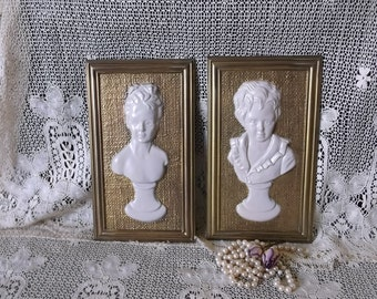 Vintage Victorian bust plaques, ivory white and gold