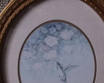 Shabby Romantic framed Hummingbird II, vintage 1980s, Cottage chic decor