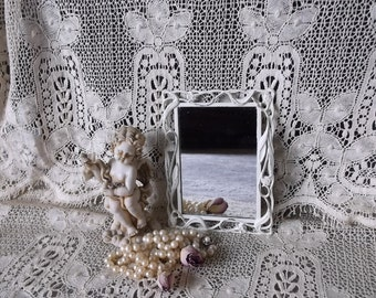 Shabby white metal mirror, small mirror, ornate mirror, Rustic chic, cottage decor