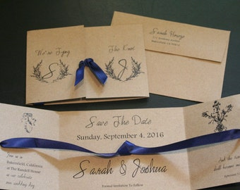 Tying The Knot, Save The Date, Wedding Announcement, Christian, Tri-Fold,  Kraft, Vintage, Shabby Chic, French, Rustic, Scripture, Unique