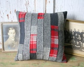 Red Tartan Patchwork Pillow Cover - Recycled Wool Tweed, Wool 12 Inch - FREE SHIPPING