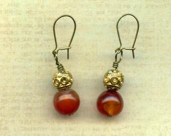 Carnelian Globe Earrings