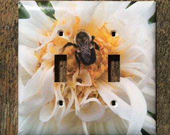 Light Switch Plate, Double Toggle, Bumble Bee on White and Yellow Dahlia