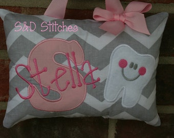Tooth Fairy Pillow for Girls - Chevron - Tooth Chart Option