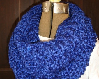 Cowl Hand knitted in a Royal Blue