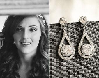 Bridal Earrings, Crystal Wedding Earrings, Teardrop Earrings, Dangle Drop Earrings, Art Deco Halo Bridal Earrings, Vintage Style, ARAMINTA