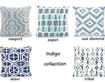 Indigo/Navy Throw Pillows Decorative Cushion COVERS Blue Indigo All SIZES Decorative Pillow Accent Couch Pillow Navy Throw Pillow Cover Sham
