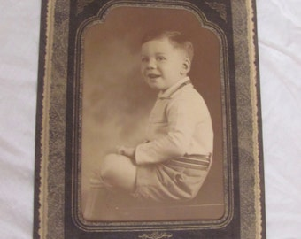 Antique Photograph Matted Young Boy - Standing Tri Fold Frame Holds 4 x 6 Photo