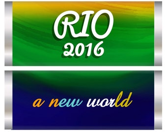 Rio Olympics Candy Bar Wrappers, Rio Olympics party favors, Olympic party favors. Set of 20.