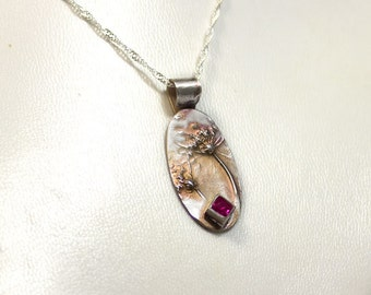 Botanical Necklace Fine Silver Embossed Necklace with Ruby July Birthstone Fine Silver Pendant.