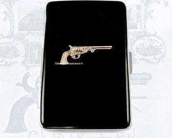 Neo Victorian Pistol Cigarette Case Large Inlaid in Hand Painted Black Onyx Enamel Colt Dragoon Revolver with Personalized and Color Options
