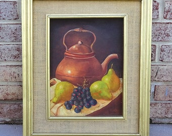 Vintage Original 1940's Signed Still Life Oil Painting on board -- Awesome Gold Frame