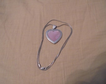 Sterling Silver and Mother of Pearl Breast Cancer Necklace