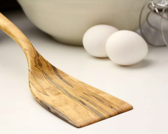 Medium sized wooden spatula kitchen utensil of Ambrosia Maple hand carved