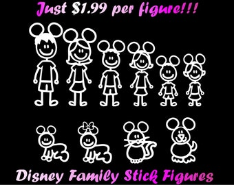Disney Family Car Decal Etsy - Disney custom vinyl decals for car
