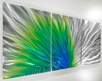 METAL art teal painting sculpture modern home wall decor contemporary spring under the water blue green silver multi panel by Lubo Naydenov