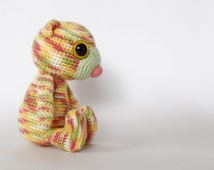 Lil' Multi-Coloured Ted. Crochet Soft Toy.