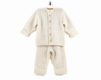 Hand Knitted Baby Set - Cardigan and Pants, - Natural White, 2 - 3 years