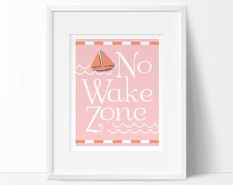 no wake zone, nautical nursery, pink nautical, pink coral, girl nautical,  INSTANT DOWNLOAD, printable nursery, nautical baby nursery decor