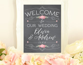 Welcome sign, chalkboard wedding welcome sign, wedding printables, welcome to our wedding sign, wedding sign printable, chalkboard decor