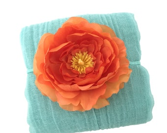 Pale Turquoise and Orange Newborn Photo Prop - Cotton Cheesecloth Wrap with Flower Headband for Newborn, Photography Prop Baby Shower Gift