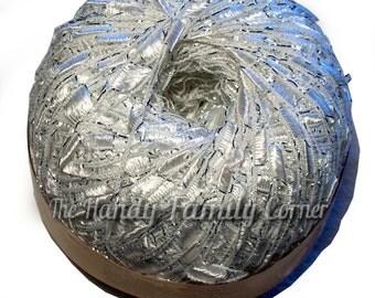 Ribbon ladder yarn. Viscose and lurex shining yarn Yarn Luxor Silver sparkle Metalic thread snowflake color (01) Trellis yarn. DSH(P2)