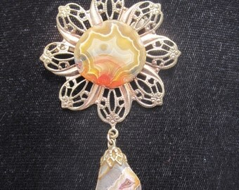 Agate Flower Brooch with Agate Charm