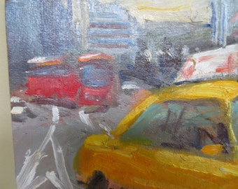 Original Painting / Modern Impressionist / Yellow Taxi / 8 x 10 / signed