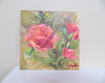 Reserve for melanie Original Painting / Modern Impressionist / Pink flowers / 10 x 10 / signed
