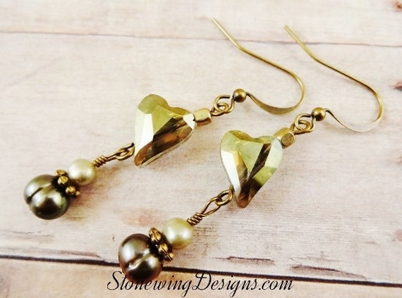 Rustic Boho Green Luster Heart and Freshwater Pearl Earrings