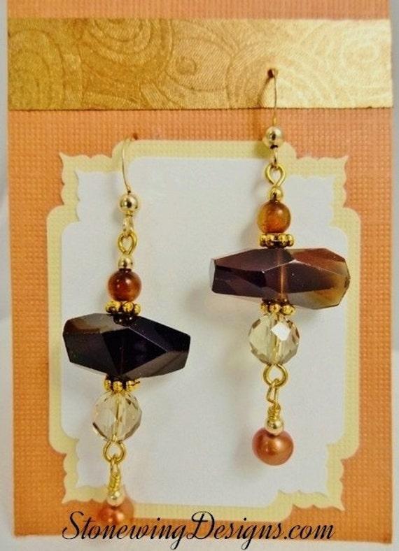 Smokey Quartz Earrings, Gemstone Earrings, Brown stone earrings, Smokey Quartz Jewelry, Quartz Gemstone Earrings, Stone and Pearl