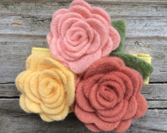 Pretty Yellow Pink Wool Felt Flower Trio Roses Hair Clip Babies Toddlers Girls