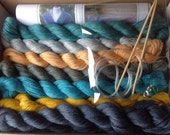 Knitting kit, Hand-dyed, Shawl, Alpaca, Silk, Organised Chaos, Turquoise, Grey, Yellow