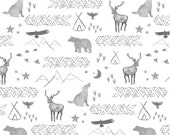 Watercolors in Grey // Bears, Teepee, Deer, Coyote, Mountains changing pad cover, rail covers, boppy covers, crib sheet, crib skirt, bumpers