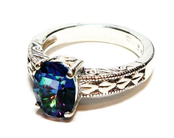 "Petalite ring, rainbow ring, solitaire ring, blue pink green teal, engagement ring, s 6 3/4   ""Teardrops in the Rain"""