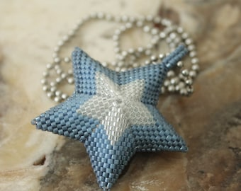 denim blue beaded three dimensional star