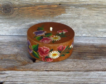 Round Wooden Box Hand Painted Wood Box with Hand Painted Flowers Cottage Chic Rustic Home Decor Sewing Box Keepsake Jewelry Box 1950s