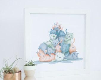 Digital Cat Pile Meowtain 9 x 9 Print