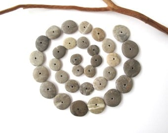 Rock Donut Beads Center Drilled Stone Spacers Beach Stone Beads Mediterranean Natural Stone Beads Diy Jewelry Pairs SMALL WHEELS 12-20 mm