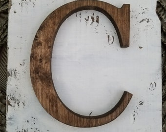 Farmhouse Style wood C Hanging Wood letter sign- Wall hanging letter READY TO SHIP C
