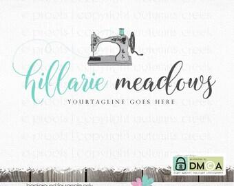 Sewing logo - sewing machine logo - Premade Logo Design - vintage Sewing machine logo  - applique logo - premade logo designs  sewing logos