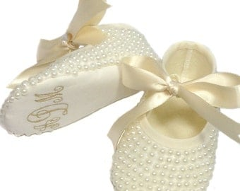 Baby Girl Baptism - Baby Christening Keepsake - Monogram Baby Booties - Pearl Baby Shoes - Baby Girl - Baby Keepsake - Newborn Keepsake Gift