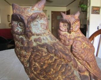 Owl Statue Pair Cast Iron Door Stops Bookends Vintage Heavy Metal Bird Indoor Outdoor Decor