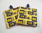 Pair of University of Michigan  Potholders, Set of Two Quilted Potholders