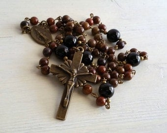 Men's Catholic Rosary, Handmade Rosary, Rosary Necklace, Wooden Agate and Onyx