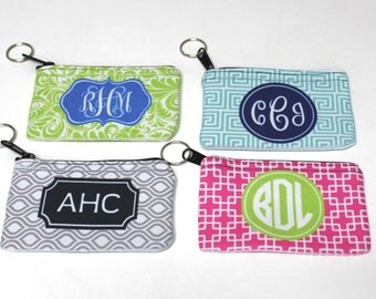 SALE - Limited Time - Monogrammed Coin Purse - Custom Coin Purse - Coin Purse Ring - Monogrammed Gift