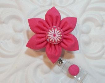 Retractable Badge Holder - ID Badge Reel -  Flower Id Badge Reel - Pink