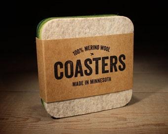 Housewarming Gift - 100% Merino Wool Felt Coasters - Square - 5mm Thick German-milled Felt - Rich, Lightfast Colors - Beige & Green
