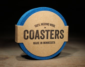 Teacher Gift - Blue Coasters - 100% Merino Wool - Round - 5mm Thick German-milled Felt - Natural and Renewable - Blue
